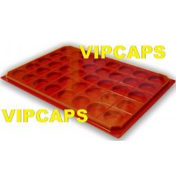 Plateaux rangement pour capsules de champagne avec couverte rouge