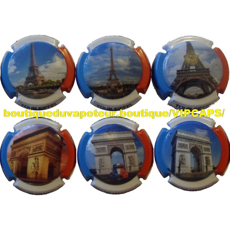 6 capsules de champagne g n riques paris tour eiffel arc de triomphe. Black Bedroom Furniture Sets. Home Design Ideas
