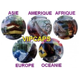 """Capsules champagne générique """"les 5 Continents Europe Asie Amérique Océanie Afrique"""""""