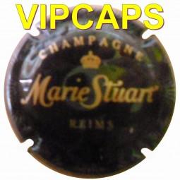 Capsule de champagne STUART Marie fond Noir écriture or mat plaque de muselet