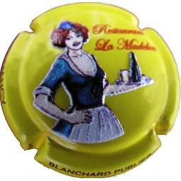 """capsule de champagne Blanchard Publier """" restaurant la madelon"""" en relief jaune"""