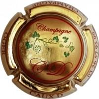 CAUX Dominique Vigne écriture rouge plaquée OR Capsule de champagne sur le magnum