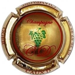 capsule de champagne CAUX Dominique Grappe écriture rouge plaquée OR
