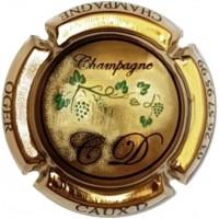 capsule de champagne CAUX Dominique vigne écriture noir plaquée OR vipcaps