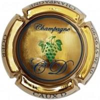 capsule de champagne CAUX Dominique grappe écriture bleu plaquée OR chez vipcaps