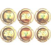 Série 6 capsules de champagne CAUX Dominique plaquée OR série compléte rare tirage 500 ex